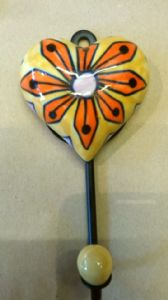 Hippy Door Hook~ Hand Painted Porcelain Glazed Heart Door Hook In Orange~By Folio Gothic Hippy